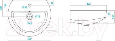 Умывальник Santek Аллегро 50 (WH301951) - схема