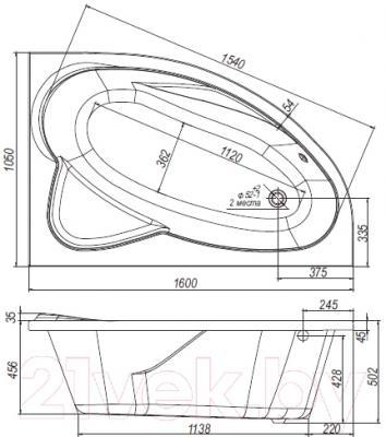 Ванна акриловая Ventospa Nika 160х105 R - схема