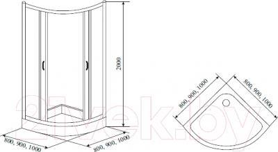 Душевой уголок Timo Biona Lux TL-8001 - схема