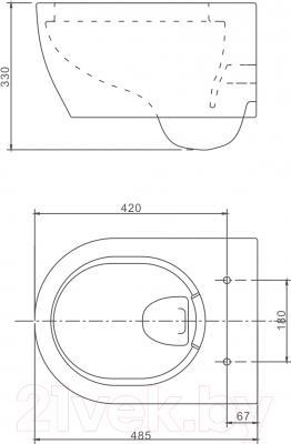 Унитаз подвесной SSWW NC 4455 (NC2038) - схема