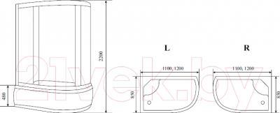 Душевая кабина Timo T-1120 R - схема