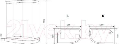 Душевая кабина Timo T-1102 L - схема