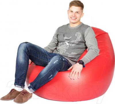 Бескаркасное кресло Meshok.by Мешок Красный глянцевый (classic balls, L)