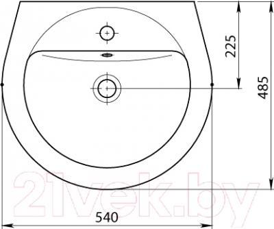 Умывальник Santeri Соната 54x48.5 (131112S0011B0) - схема