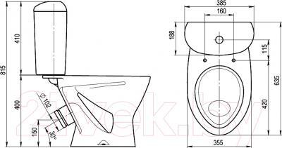 Унитаз напольный Santeri Версия (1P4015S0700BF) - схема