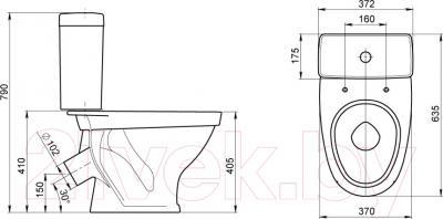 Унитаз напольный Santeri Форвард (1P2052S0100BF) - схема