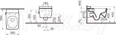 Унитаз подвесной VitrA Metropole (7672B003-1087) - схема