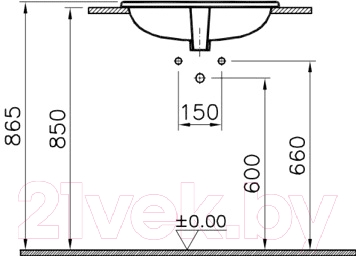 Умывальник VitrA S20 55x45 (5465B003-0001) - схема