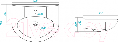 Умывальник накладной Santek Канны 50x45 (1.WH11.0.243) - схема