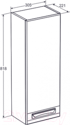 Шкаф-полупенал для ванной Santek Лайм (1.WH5R.1.473)