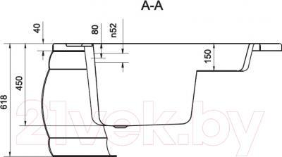 Ванна акриловая Cersanit Adria 140x105 R (с ножками) - схема