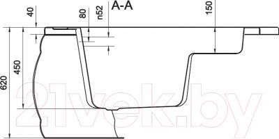 Ванна акриловая Cersanit Adria 150x105 L (с ножками) - схема