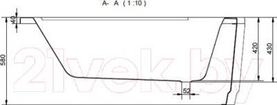 Ванна акриловая Cersanit Ariza 140x85 R (с ножками) - схема