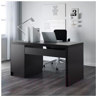 Письменный стол Ikea Мальм 002.141.57 (черно-коричневый)