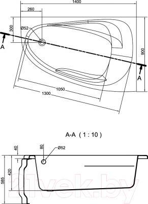 Ванна акриловая Cersanit Joanna New 140х90 R (с ножками) - схема