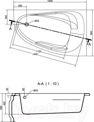 Ванна акриловая Cersanit Joanna New 150х95 R (с ножками) - схема