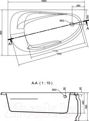 Ванна акриловая Cersanit Joanna New 160x95 L (с ножками) - схема