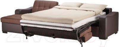 Угловой диван-кровать Ikea Лиарум 003.003.34 (коричневый/темно-коричневый) - в разложенном виде