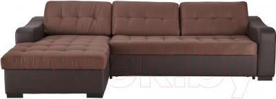 Угловой диван-кровать Ikea Лиарум 003.003.34 (коричневый/темно-коричневый) - вид спереди