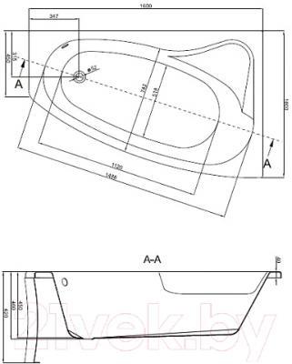 Ванна акриловая Cersanit Sicilia 160х100 R - схема