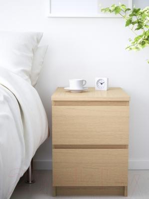 Прикроватная тумба Ikea Мальм 101.786.01 (дубовый шпон, беленый)