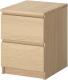 Прикроватная тумба Ikea Мальм 101.786.01 (дубовый шпон, беленый) -