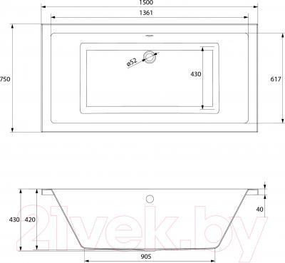 Ванна акриловая Cersanit Intro 150x75 - схема