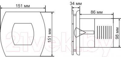 Вентилятор вытяжной Grand Soft 100 Timer (нержавеющая сталь)