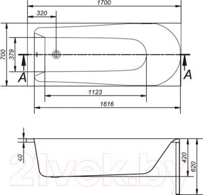 Ванна акриловая Cersanit Nao 170x70 (с ножками) - схема