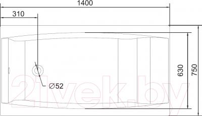 Ванна акриловая Cersanit Virgo 140x75 (с ножками) - схема