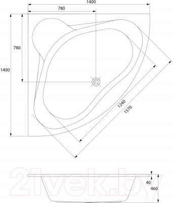 Ванна акриловая Cersanit Venus 140x140 (с ножками) - схема