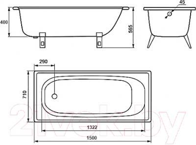 Ванна стальная Estap Classic 150x71 (зеленый) - схема