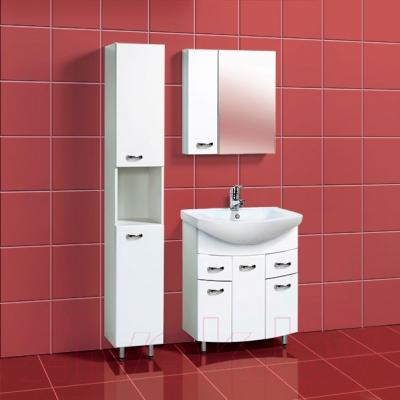 Шкаф с зеркалом для ванной Акваль Афина 70 L (04.70.00.N) - в интерьере