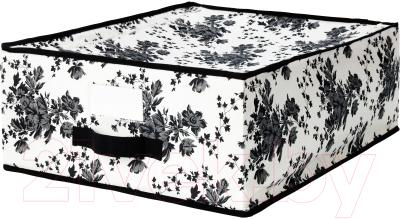 Ящик для хранения Ikea Гарнитур 202.501.30 (черный/белый цветок)