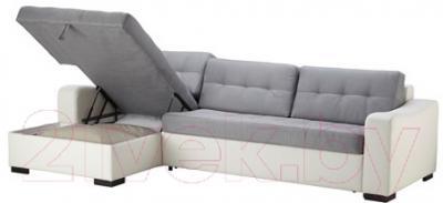 Угловой диван-кровать Ikea Лиарум 303.003.37 (серый/белый)