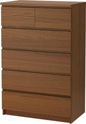 Комод Ikea Мальм 303.152.92 (коричневая морилка/ясеневый шпон)