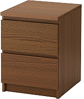 Прикроватная тумба Ikea Мальм 403.152.82 (коричневая морилка/ясеневый шпон) -