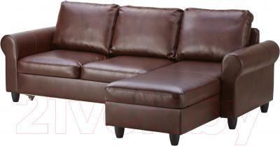 Угловой диван-кровать Ikea Фиксхульт 102.763.00 (темно-коричневый) - угол можно поменять при сборке