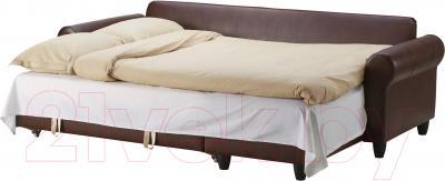 Угловой диван-кровать Ikea Фиксхульт 102.763.00 (темно-коричневый) - в разложенном виде