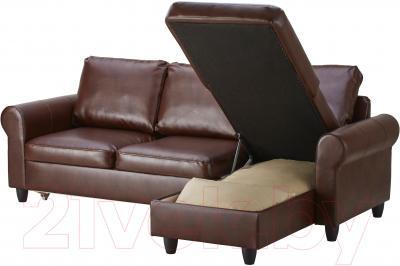 Угловой диван-кровать Ikea Фиксхульт 102.763.00 (темно-коричневый) - козетка с отделением для хранения