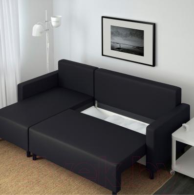Угловой диван-кровать Ikea Лугнвик 502.084.94 (черный) - в процессе раскладки