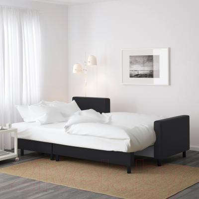 Угловой диван-кровать Ikea Лугнвик 502.084.94 (черный) - в разложенном виде