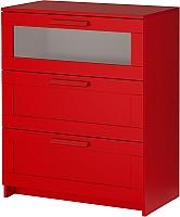Комод Ikea Бримнэс 502.261.29 (красный, матовое стекло) -