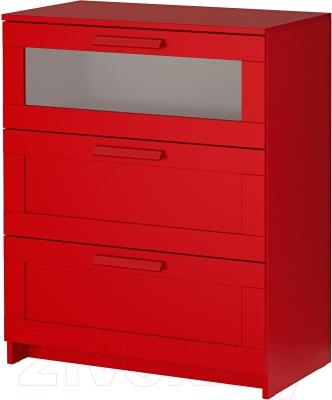 Комод Ikea Бримнэс 502.261.29 (красный, матовое стекло)