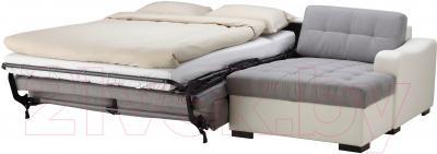 Угловой диван-кровать Ikea Лиарум 503.003.36 (серый/белый) - в разложенном виде