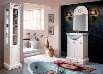 Шкаф-пенал для ванной Bliss Амелия 2Д / 0455.3 (патина золото) - в интерьере