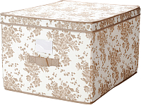 Ящик для хранения Ikea Гарнитур 602.196.04 (бежевый/белый цветок) -