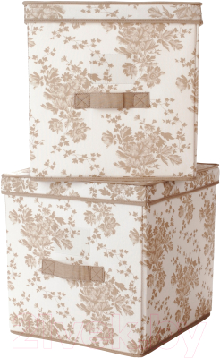 Набор коробок для хранения Ikea Гарнитур 602.262.75 (бежевый/белый цветок)
