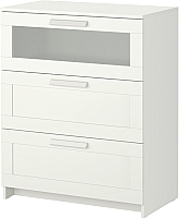 Комод Ikea Бримнэс 802.180.24 (белый, матовое стекло) -