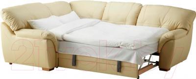 Угловой диван-кровать Ikea Бьербу 902.226.95 (бежевый) - в разложенном виде
